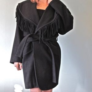 Black Wool Fringe Jacket Coat Vintage 1970s
